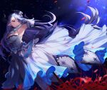 1girl absurdres blue_hair breasts draph dress elbow_gloves flower gloves granblue_fantasy hand_on_own_chest hat highres hinataa horns huge_filesize izmir large_breasts long_dress long_hair pointy_ears red_eyes spider_lily starry_background very_long_hair