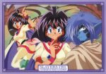 1990s_(style) 1boy 1girl amelia_wil_tesla_seyruun art_nouveau bangs black_hair blue_eyes blue_hair blue_skin border cape character_name choker colored_skin copyright_name highres index_finger_raised long_pointy_ears looking_at_viewer medium_hair official_art open_mouth pink_neckwear pointy_ears retro_artstyle scan slayers slayers_try smile wristband zelgadiss_graywords