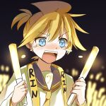 1boy audience bass_clef black_background black_collar blonde_hair blue_eyes character_name collar commentary crying crying_with_eyes_open glowing happy_tears highres holding_penlight kagamine_len male_focus necktie open_mouth penlight sailor_collar shirt short_hair sketch solo spiky_hair tears upper_body vocaloid wakolenrin white_shirt yellow_neckwear