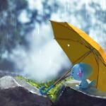 blurry blurry_background closed_eyes closed_mouth commentary_request creature ekm gen_2_pokemon grass no_humans outdoors pokemon pokemon_(creature) rain rock sitting smile solo umbrella wooper