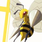 antennae bee beedrill bug commentary_request gen_1_pokemon highres insect no_humans perspective pokemon pokemon_(creature) red_eyes shiny solo takumi_(creativeocean18) two-tone_background