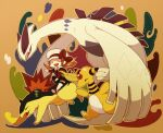 1girl ampharos bow brown_eyes brown_hair cabbie_hat closed_eyes commentary_request gen_2_pokemon hat hat_bow legendary_pokemon long_hair lugia lyra_(pokemon) open_mouth overalls pokemon pokemon_(creature) pokemon_(game) pokemon_hgss red_bow red_footwear red_shirt riding_pokemon shirt shoes smile suzuki_(gmbk) thigh-highs twintails typhlosion upper_teeth white_headwear white_legwear yellow_bag |d