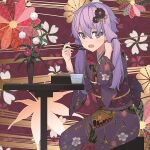1girl amekaze_yukinatsu character_request chopsticks copyright_request cup eyebrows_behind_hair floral_print flower_pot hair_flip hair_ornament holding holding_chopsticks japanese_clothes kimono long_hair looking_at_viewer lowres open_mouth print_kimono purple_hair sitting solo table tied_hair violet_eyes
