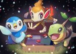 absurdres arm_up briefcase chimchar commentary_request confetti creature fire flame gen_4_pokemon grass grey_eyes highres looking_at_viewer nullma open_mouth piplup poke_ball poke_ball_(basic) pokemon pokemon_(creature) shiny smile starter_pokemon_trio tongue turtwig
