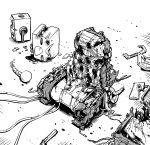 1other absurdres artist_self-insert greyscale gundam gundam_0080 highres ishiyumi ishiyumi_(character) mechanical_parts monochrome no_humans original seatbelt wide_oval_eyes