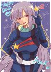 1girl bangs birthday blush breasts brown_eyes character_name crescent crescent_earrings earrings eyebrows_visible_through_hair gloves gundam gundam_zz hair_between_eyes hand_on_hip happy_birthday hato-as jewelry long_hair looking_at_viewer medium_breasts open_mouth pilot_suit purple_hair roux_louka smile solo space sparkle star_(symbol) star_print v-shaped_eyebrows very_long_hair