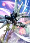 absurdres dinn electricity explosion flying glowing glowing_eye gun gundam gundam_seed highres holding holding_gun holding_weapon huge_filesize looking_up mecha mechanical_wings mobile_suit no_humans one-eyed propro13 science_fiction solo violet_eyes weapon wings