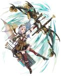 1girl :d absurdres ahoge arrow_(projectile) bangs binoculars black_footwear black_sailor_collar black_shorts boots bow_(weapon) breasts brown_legwear center_frills commentary_request compound_bow cross-laced_footwear frilled_boots frilled_footwear frilled_shorts frills full_body goggles goggles_on_head grey_hair highres holding holding_bow_(weapon) holding_weapon lace-up_boots looking_away medium_breasts neckerchief nekozuki_yuki open_mouth original pleated_shorts puffy_short_sleeves puffy_sleeves quiver red_eyes red_neckwear sailor_collar shirt short_shorts short_sleeves shorts simple_background smile solo steam steampunk thigh-highs thighhighs_under_boots weapon white_background white_shirt