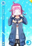 character_name covered_face jacket love_live!_nijigasaki_high_school_idol_club love_live!_school_idol_festival_all_stars pink_hair short_hair smile tennouji_rina