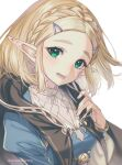 1girl bangs black_cloak blonde_hair blue_tunic blush braid breasts cloak commentary crown_braid eyelashes green_eyes hair_ornament hairclip hand_on_own_chest highres looking_at_viewer medium_breasts open_mouth parted_bangs pointy_ears princess_zelda shirt short_hair shuri_(84k) sidelocks simple_background smile solo symbol_commentary the_legend_of_zelda the_legend_of_zelda:_breath_of_the_wild the_legend_of_zelda:_breath_of_the_wild_2 thick_eyebrows twitter_username upper_body white_background white_shirt