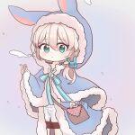 1girl animal_hood bag blue_eyes bunny_hood cigarette honkai_(series) honkai_impact_3rd hood looking_at_viewer ponytail rosenyang simple_background smoke smoking theresa_apocalypse white_hair