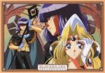 1990s_(style) 1boy 1girl adjusting_hair art_nouveau bangs blonde_hair blue_eyes blunt_bangs border cape character_name closed_eyes copyright_name filia_ul_copt gloves hat highres holding holding_staff looking_at_viewer official_art purple_hair retro_artstyle scan slayers_try smile staff two-handed violet_eyes white_gloves xelloss
