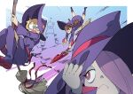 >_o 3girls :c blonde_hair boots bright_pupils broom broom_riding brown_hair doushimasho freckles green_eyes hand_on_headwear hat kagari_atsuko little_witch_academia lotte_jansson motion_lines multiple_girls one_eye_closed open_mouth purple_footwear purple_headwear purple_robe purple_theme red_eyes sucy_manbavaran wand white_pupils witch_hat