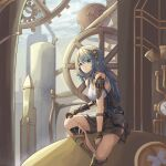 1girl absurdres android blue_eyes blue_hair cable commentary_request corset damaged eyebrows_visible_through_hair gauge gears highres long_hair looking_at_viewer mechanical_parts original randomcatbox shorts sitting smile steampunk