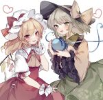 2girls :d ascot bangs black_headwear blonde_hair blush bow commentary_request crystal eyebrows_visible_through_hair fang flandre_scarlet flat_chest floral_print frilled_shirt_collar frills green_eyes green_hair green_skirt hair_between_eyes hand_on_own_cheek hand_on_own_face hand_up hat hat_bow heart heart_of_string holding komeiji_koishi long_hair long_sleeves looking_at_viewer medium_hair mob_cap multiple_girls open_mouth parted_lips puffy_short_sleeves puffy_sleeves red_bow red_eyes red_skirt red_vest shirt short_sleeves simple_background skirt smile sorani_(kaeru0768) third_eye touhou vest white_background white_headwear wide_sleeves wings wrist_cuffs yellow_bow yellow_neckwear yellow_shirt