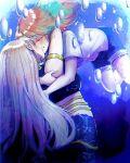 2girls air_bubble bare_shoulders bubble closed_eyes couple denim denim_shorts earrings gradient_hair highres hololive hololive_english hug jewelry kiss kneeless_mermaid mermaid monster_girl monsterification mori_calliope multicolored_hair multiple_girls navel pink_hair scales shirt shorts siki_222 takanashi_kiara underwater virtual_youtuber yuri