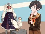 1girl bangs bird black_hair blouse blue_skirt brown_sailor_collar brown_serafuku brown_shirt brown_shorts cowboy_shot crossover duck english_commentary frilled_blouse green_eyes hololive kantai_collection long_sleeves look-alike mannequin mogami_(kancolle) multicolored multicolored_background one-hour_drawing_challenge orange_neckwear plaid plaid_skirt remodel_(kantai_collection) sailor_collar school_uniform serafuku shirt short_hair shorts sixten skirt standing subaru_duck swept_bangs white_blouse