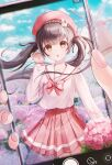 1girl arm_up bangs barrett blue_sky brown_eyes brown_hair cellphone commentary_request cowboy_shot day fingers flower hair_blowing hair_ribbon highres hydrangea long_hair long_sleeves looking_at_viewer open_mouth original outdoors phone phone_screen pink_flower pink_sailor_collar pink_shirt pleated_skirt prana_(prana12) red_headwear red_skirt ribbon sailor_collar school_uniform serafuku shirt skirt sky smartphone solo standing twintails uniform windmill