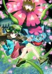 1girl bike_shorts brown_eyes brown_hair buttons closed_mouth commentary_request dress eyelashes floating_hair gen_1_pokemon green_headwear green_jacket hands_up hat highres jacket knees leaf_(pokemon) long_hair long_sleeves looking_at_viewer mega_pokemon mega_venusaur open_clothes open_jacket pink_dress plant pokemon pokemon_(creature) pokemon_(game) pokemon_masters_ex shiny shiny_hair shoes sleeves_past_wrists smile venusaur vines yamanashi_taiki
