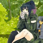 1girl arknights axe backpack bag black_legwear blue_hair cup drinking fingerless_gloves forest gloves gradient_hair green_eyes green_gloves green_jacket highres holding holding_cup jacket jessica_(arknights) jessica_(ash)_(arknights) mismatched_legwear mug multicolored_hair nature official_alternate_costume outdoors pink_hair ponytail single_thighhigh sitting solo thigh-highs yonezou_(kazuki)