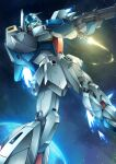 beam_rifle beam_saber char's_counterattack earth_(planet) energy_gun flying gamiani_zero green_eyes gun gundam highres holding holding_gun holding_sword holding_weapon mecha mobile_suit no_humans planet re-gz science_fiction solo space sword weapon