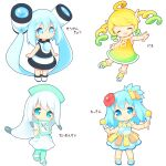 4girls :o ^_^ ahoge aikei_ake bangle bangs bare_arms black_dress blonde_hair blue_dress blue_eyes blue_footwear blue_hair blush boots bracelet chibi closed_eyes closed_mouth commentary_request dress eyebrows_visible_through_hair facing_viewer flower gradient_dress gradient_footwear gradient_hair green_dress green_footwear green_hair green_headwear green_legwear grey_hair hair_between_eyes hair_flower hair_ornament hat head_tilt hibiscus highres holding instrument jewelry long_hair looking_at_viewer looking_away mallet_(instrument) multicolored_hair multiple_girls nurse_cap original pantyhose parted_lips personification red_flower ringlets sandals shoes short_sleeves sidelocks simple_background sleeveless sleeveless_dress smile standing temperature thermometer translation_request twintails very_long_hair white_background white_dress white_footwear xylophone yellow_dress yellow_flower yellow_footwear