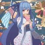 1girl amekaze_yukinatsu blue_hair bow character_request commentary_request copyright_request crepe eating eyebrows_behind_hair floral_background floral_print food food_wrapper fruit hair_bow holding holding_food japanese_clothes kimono light_blush long_hair looking_at_viewer low_tied_hair lowres pink_eyes solo strawberry very_long_hair wide_sleeves
