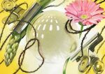 acrylic_paint_(medium) asparagus clip flower flower_request food gradient gradient_background marble no_humans original reflection senzaki-ryosuke still_life string traditional_media vegetable yellow_background