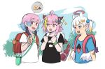 3girls ahoge animal_ears asacoco backpack bag bag_charm bandaid bandaid_on_arm bangs bite_mark black_shirt blonde_hair blue_eyes blue_hair blue_shirt bow bright_pupils charm_(object) child clara_mori commentary crmanzana cropped_torso day diagonal-striped_bow dragon_girl dragon_horns dragon_tail earrings english_commentary extra_ears eyebrows_visible_through_hair feather_earrings feathers gawah_guwah hair_bow hair_ornament halo heterochromia highres holding hololive horns if_they_mated jewelry kira_kiryope kotori_(takanashi_kiara) looking_at_another low_wings multicolored_hair multiple_girls one_side_up open_mouth orange_hair outdoors pink_eyes pink_hair pointy_ears poop print_shirt purple_hair red_bag red_eyes redhead school_bag shirt short_hair short_sleeves shoulder_bag sidelocks sketch skull_print sparkle streaked_hair striped striped_bow tail tako_(ninomae_ina'nis) tamagotchi tied_hair upper_body violet_eyes virtual_youtuber what_if white_bag white_hair white_pupils white_shirt white_wings wings wristband