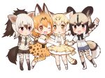 4girls :d :o ;d aardwolf_(kemono_friends) aardwolf_ears aardwolf_print aardwolf_tail african_wild_dog_(kemono_friends) african_wild_dog_print animal_ears animal_print arm_up bangs bare_legs black_hair blonde_hair bodystocking boots bow bowtie breast_pocket brown_hair cat_ears cat_girl cat_tail chibi collared_shirt cutoffs dog_girl dog_tail elbow_gloves extra_ears eyebrows_visible_through_hair full_body gloves grey_hair hands_up high-waist_skirt high_ponytail kemono_friends kneehighs layered_sleeves legwear_under_shorts long_hair long_sleeves looking_at_viewer medium_hair miniskirt multicolored_hair multiple_girls necktie one_eye_closed open_mouth orange_eyes orange_hair outstretched_arm pantyhose parted_lips pocket ponytail print_bow print_gloves print_legwear print_neckwear print_shirt print_skirt sand_cat_(kemono_friends) sand_cat_print serval_(kemono_friends) serval_ears serval_girl serval_print serval_tail shirt shoes short_over_long_sleeves short_sleeves shorts side-by-side simple_background skirt sleeveless sleeveless_shirt smile tail two-tone_hair white_background