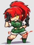 1girl bangs black_gloves chibi crazy_eyes crop_top cropped_jacket dark_persona earrings fang gloves green_jacket green_shorts high_ponytail ibara. jacket jewelry leona_heidern looking_at_viewer midriff military military_uniform orochi_leona ponytail redhead shorts snk soldier solo the_king_of_fighters the_king_of_fighters_'97 triangle_earrings uniform white_background yellow_eyes