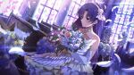 1girl bangs bare_shoulders blue_flower blue_hair blush bouquet bride brown_eyes church dress earrings elbow_gloves eyebrows_visible_through_hair feathers flower frilled_dress frills gloves hair_flower hair_ornament holding holding_bouquet idolmaster idolmaster_million_live! idolmaster_million_live!_theater_days indoors jewelry kisaragi_chihaya long_hair narumi_arata necklace official_art pink_flower sleeveless sleeveless_dress smile solo stained_glass strapless strapless_dress sunlight white_dress white_flower white_gloves window