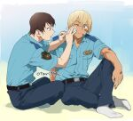 2boys amuro_tooru applying_bandages bandage_on_face bandages bandaid bandaid_on_arm bandaid_on_face bandaid_on_hand bangs belt black_belt black_pants blonde_hair blue_background blue_eyes blue_shirt brown_hair closed_mouth collared_shirt commentary_request first_aid hair_between_eyes indesign indian_style knee_up looking_at_another male_focus meitantei_conan multiple_boys no_shoes one_eye_closed open_mouth pants police police_uniform policeman scotch_(meitantei_conan) shadow shirt shirt_tucked_in short_hair short_sleeves signature sitting socks uniform white_legwear