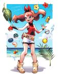 1girl :d adapted_costume bangs berry_(pokemon) bike_shorts black_wristband bottle bow_hairband breasts brown_hair burakku_mutou clouds commentary_request day dive_ball eyelashes fang floating_hair flower hairband leaf long_hair may_(pokemon) navel open_mouth outdoors pigeon-toed poke_ball poke_ball_(basic) pokemon pokemon_(game) pokemon_oras red_flower red_hairband shirt shorts sky sleeveless smile solo standing toeless_footwear toes tongue water white_shorts yellow_flower
