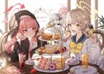 4girls :d absurdres aru_(blue_archive) bangs beret black_headwear black_shirt blue_archive blue_sailor_collar book bow bowtie brown_eyes cake character_request closed_eyes commentary_request cup drinking_straw eyebrows_visible_through_hair food fork halo hat hifumi_(blue_archive) highres holding holding_fork holding_phone huge_filesize juice kasia0309 koharu_(blue_archive) light_brown_hair long_hair long_sleeves multiple_girls open_mouth phone pink_hair red_eyes sailor_collar school_uniform serafuku shirt silver_hair smile strawberry_shortcake table tiered_tray twintails violet_eyes white_shirt yellow_bow yellow_neckwear