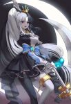 1girl absurdres arm_up bangs black_dress black_legwear black_skirt blue_bow bow braid breasts chain collar collarbone crescent_moon crown dress eyebrows_visible_through_hair feet_out_of_frame gem grey_eyes hair_ornament heterochromia highres holding holding_scythe holding_weapon huge_filesize jisu_lee large_breasts long_hair long_sleeves looking_at_viewer metal_collar mismatched_legwear moon multicolored multicolored_clothes multicolored_dress open_mouth original over_shoulder ponytail red_eyes scythe skirt smile solo striped striped_bow very_long_hair weapon white_dress white_legwear