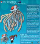 1boy 1girl artist_name character_name character_profile colored_skin commentary dark_skin english_commentary english_text gen_1_pokemon hat hat_feather highres kinkymation monster_girl personification poke_ball poke_ball_(basic) pokemon purple_hair tentacruel