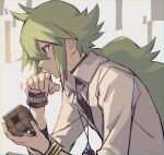 1boy bangle bangs blue_eyes bracelet closed_mouth collared_shirt cube from_side green_hair holding jewelry long_hair male_focus n_(pokemon) necklace pokemon pokemon_(game) pokemon_bw ponytail shirt solo symbol_commentary tpi_ri undershirt upper_body white_shirt