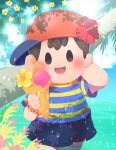 1boy arm_behind_head baseball_cap blush brown_hair child clouds flower flower_bracelet flower_on_head food hat holding holding_food ice_cream ice_cream_cone male_focus mizuki_(sjsj_10) mother_(game) mother_2 ness_(mother_2) ocean open_mouth palm_tree red_headwear shirt shorts sky smile striped striped_shirt t-shirt tree