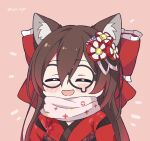 1girl ^_^ animal_ears bangs blush bow brown_hair cat_ears chibi closed_eyes hair_between_eyes hair_bow highres hololive huge_bow japanese_clothes kemonomimi_mode kimono kukie-nyan long_hair open_mouth pink_scarf red_bow red_kimono roboco-san scarf smile solo twitter_username upper_body virtual_youtuber
