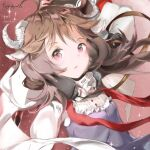 1girl animal_ears arknights artist_name brown_hair character_name dated dress elite_ii_(arknights) eyjafjalla_(arknights) floating_hair horns long_hair looking_at_viewer mask mask_around_neck open_mouth pink_eyes purple_dress red_background sheep_ears sheep_girl sheep_horns shiru_no solo sparkle upper_body white_sleeves