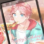 ! 1boy absurdres artist_name blue_eyes blurry blurry_background cellphone character_name dino_albani eating food happy_birthday helios_rising_heroes highres koriyukika032 looking_at_viewer male_focus phone pink_hair pizza short_hair sitting smartphone solo spoken_exclamation_mark upper_body