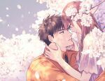 1boy 1girl brown_hair couple eye_contact flower fujihashi_ryou hand_on_another's_face hetero jacket long_sleeves looking_at_another mizuno_souma orange_jacket outdoors petals tarou_(you-0512) upper_body yubisaki_kara_no_honki_no_netsujou