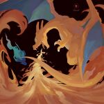 blast_burn_(pokemon) blue_eyes blue_fire breathing_fire character_name charizard claws commentary_request fangs fire gen_1_pokemon highres looking_back no_humans open_mouth pokemon pokemon_(creature) ricmoo3 solo tongue