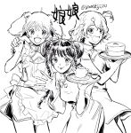 3girls apron bangs braid breasts china_dress chinese_clothes choujikuu_yousai_macross clenched_hand cup double_bun dress eyebrows_behind_hair flat_chest freyja_wion greyscale highres holding holding_tray leaning_forward lynn_minmay macross macross_delta macross_frontier maid_apron medium_breasts monochrome multiple_girls open_hand open_mouth ranka_lee short_hair short_sidetail smile teacup teapot tray twin_braids twintails yumekijiiro