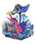 closed_mouth commentary_request gen_3_pokemon gen_5_pokemon giant_mushroom grass highres hollow_log lying mushroom no_humans on_stomach pokemon pokemon_(creature) scolipede sideways_glance white_background wurmple yyy9696yyy
