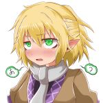 1girl bangs black_shirt blonde_hair blush breasts brown_jacket clip_studio_paint_(medium) commentary_request ear_blush eyebrows_visible_through_hair green_eyes hair_between_eyes half_updo highres jacket looking_to_the_side medium_breasts mizuhashi_parsee multicolored multicolored_clothes multicolored_jacket open_mouth pointy_ears scarf shirt short_hair short_ponytail simple_background solo touhou upper_body white_background white_scarf yasui_nori