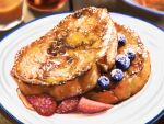 blueberry blurry commentary_request dessert food food_focus french_toast fruit highres kya4 making-of_available no_humans original plate shiny still_life strawberry