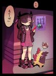 1girl against_wall ankle_boots arm_behind_back asymmetrical_bangs bangs black_border black_choker blush_stickers boots border brown_footwear brown_hair brown_jacket burakku_mutou choker closed_mouth commentary_request creature dress gen_4_pokemon gen_8_pokemon green_eyes hair_ribbon hand_up holding holding_phone jacket marnie_(pokemon) morpeko morpeko_(full) open_clothes open_jacket phone pink_dress pokemon pokemon_(game) pokemon_swsh purple_ribbon ribbon rotom rotom_phone smile speech_bubble standing translation_request