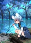 1girl absurdres animal_ears bangs black_footwear blue_capelet capelet closed_mouth dowsing_rod dress from_side frown grey_dress grey_hair highres katsuobushi_(eba_games) loafers long_sleeves looking_to_the_side medium_dress mouse_ears mouse_tail nazrin pond red_eyes shadow shoes short_hair socks solo squatting tail touhou tree white_legwear